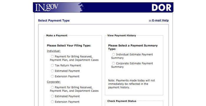 Indiana Taxes Bill Pay