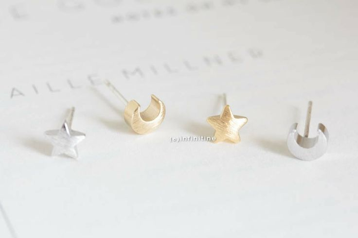 the moon and star stud earrings,E003R