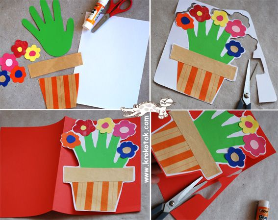 Fun hand print flower card (mother's day)  Not in English, but the pictures give you the idea