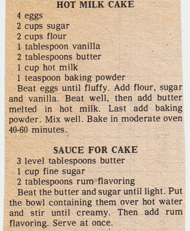 Vintage Hot Milk Cake Recipe