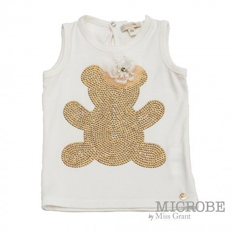 SINGLET WITH GOLDEN BEAR. Sale 50% off Spring&Summer Collection!