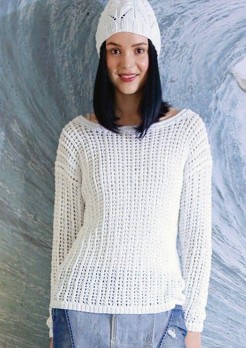 Weißer Pullover mit Netzmuster, stricken mit Rebecca ...
