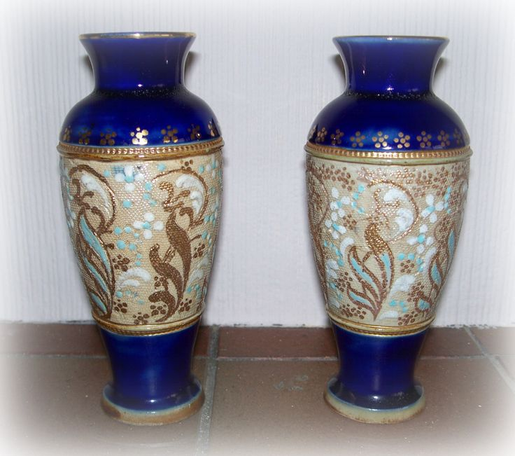 Elegant Pair of Antique Royal Doulton Vases by AntiquesCabin