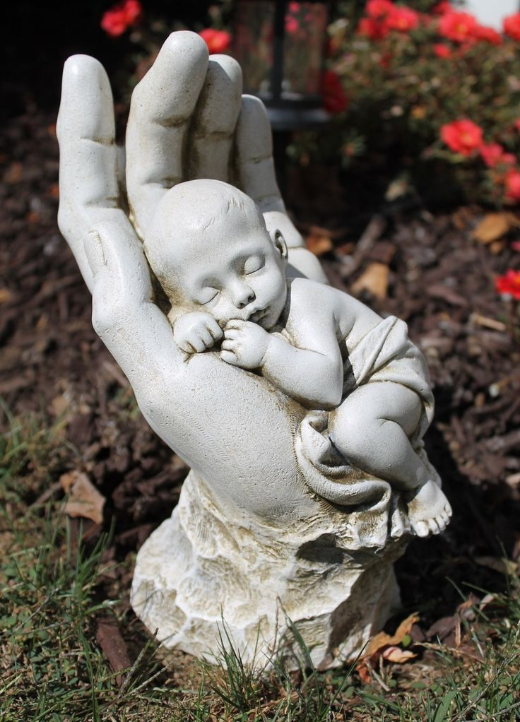 In god 39 s hands miscarriage baby memorial garden statue for Big hands for gardening