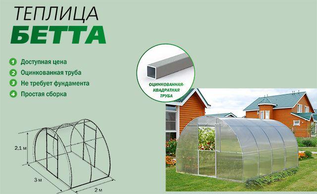 Теплица Бетта, из поликарбоната, идеальный вариант для вашего хозяйства. Купить теплицу из поликарбоната от производителя. Ростовская область