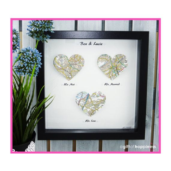 Special Locations, special memories. We met, we married, we live. Our beautiful, handmade, triple heart map frames will make the perfect gift for many different occasions: Wedding anniversary, First year paper anniversary, wedding gift, birthday gift, valentines gift, new home gift are just to name a few ideas where this gorgeous gift can be used to make sure those memories are cherished forever.  Our triple heart map designs are custom made and printed on stunning 300gsm white linen card…