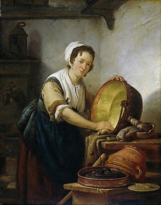 Abraham Van Strij (Dutch Artist, Cleaning Up In The Kitchen.