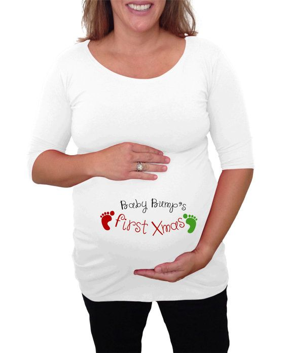 White Christmas Maternity Shirt Quot Baby Bump S First Xmas