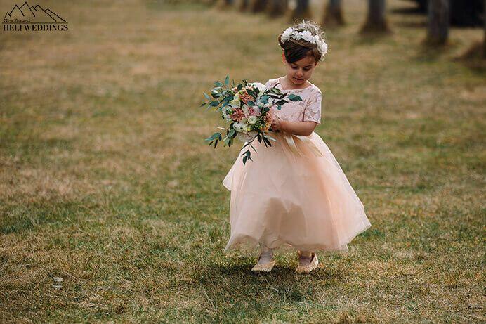 Flower girl at Queenstown Wedding
