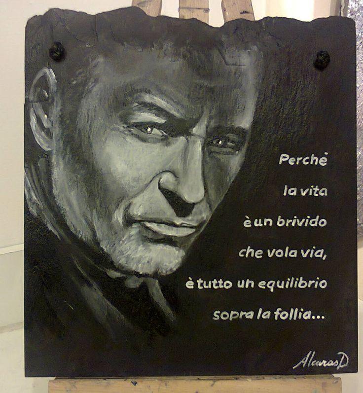 Vasco Rossi dipinto su ardesia