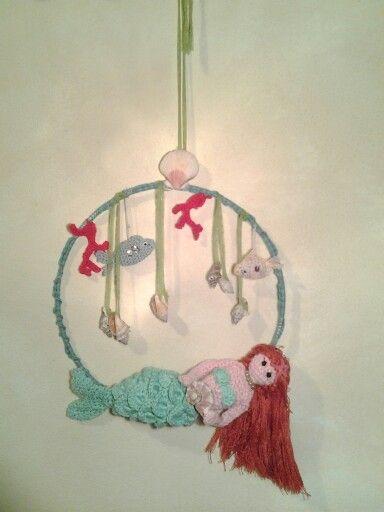 Sirenetta  amigurumi, decorazione da parete