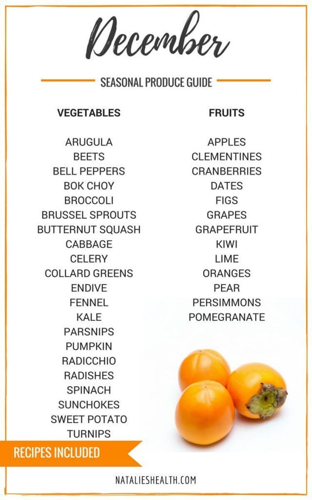 """Produce Guide """"Whats in Season DECEMBER"""" is a collection ofbest HEALTHY recipes featuring seasonal fruits and veggies for the month December. #seasonal #winter #fall #fruit #vegetables #guide #healthy #produce #food #december #recipes 