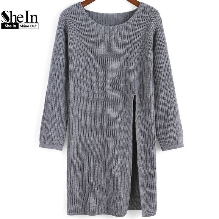 Newest Autumn Plain Hot Sale Brand Pullovers Jumpers Fashionable Women's Long Sleeve Grey Round Neck Split Knit Long Sweater