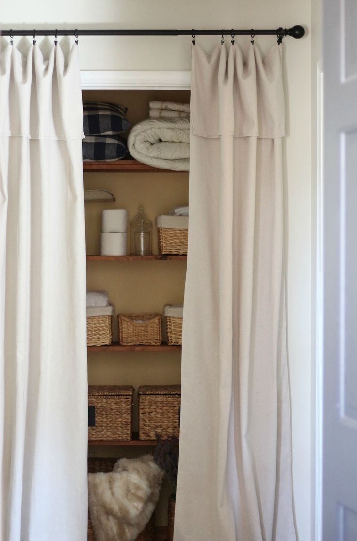 I will warn you in advance. I am sick as a dog this week, so bear with me. This really is a super easy read. I promise! When we bought our house last year one thing that was a bit strange was that almost all the closet doors were missing. We later found some in ... Read More about Closet Door Alternative – Easy Drop Cloth Curtains