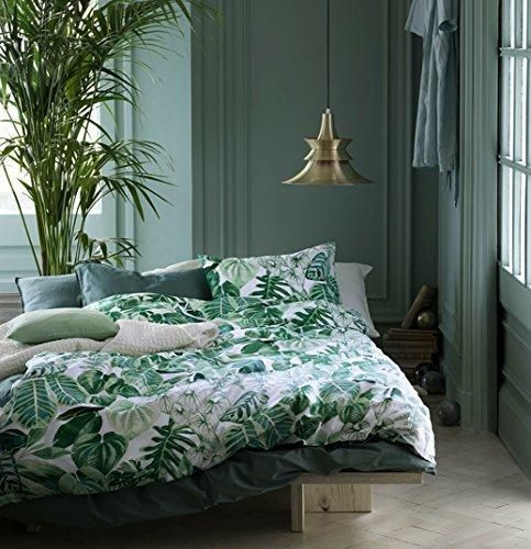 Botanical Tropical Plants Bedding Duvet Cover 2pc Piece Set Modern Emerald Green Jungle Leaves Branches Floral Print 100-percent Cotton Single Twin
