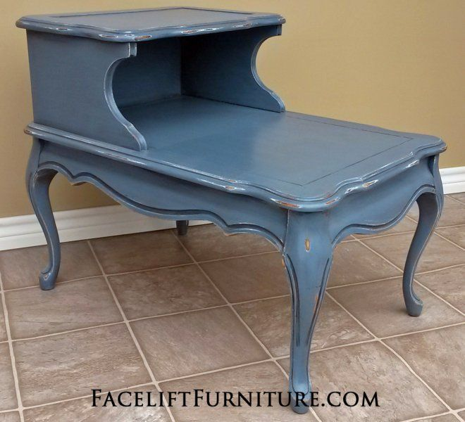 French End Table in distressed Slate Blue over white primer, with Black Glaze. From Facelift Furniture's End Tables collection.