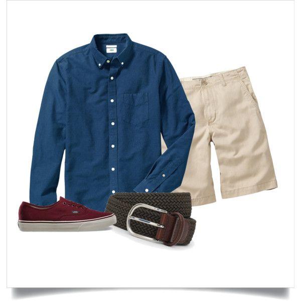Polyvore: Navy OCBD, stone shorts, olive belt, burgundy Vans