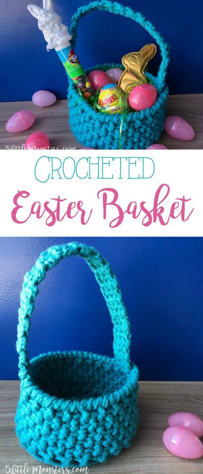 Free crochet Easter Basket pattern [ad] #sweetereaster @Walmart @Skittles @Starburst @DoveChocolateUSA