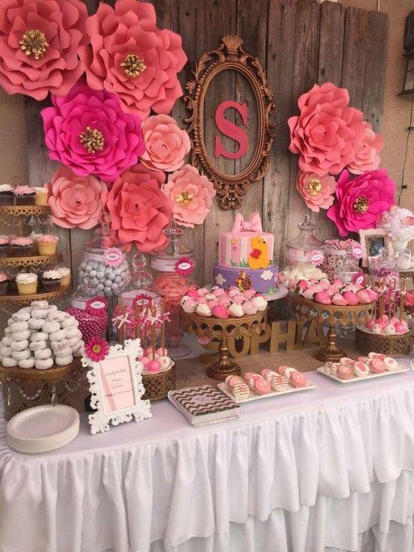Baby Girl Baby Shower Part - 36: Elegant-Pink-Flower-Baby-Shower-Buffet-Table