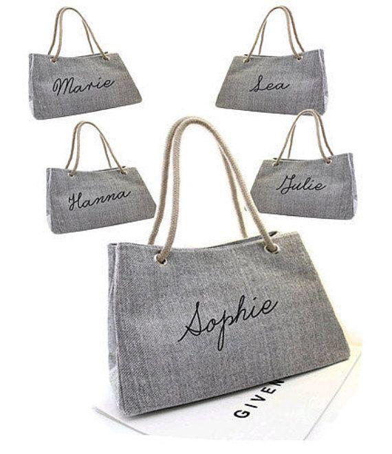Set Bridesmaid bag Personalized bag Hessian by BIGOUDIBIGOUDA