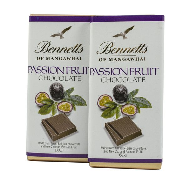 Bennetts of Mangawhai Passionfruit Bar in milk chocolate.