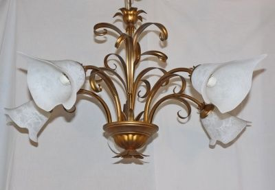 CHANDELIER WITH 5 LIGHT IN IRON BEATEN AND GLASS art.180