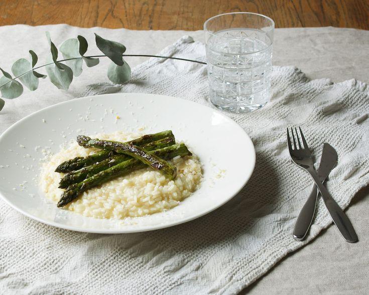 Lemon risotto and asparagus