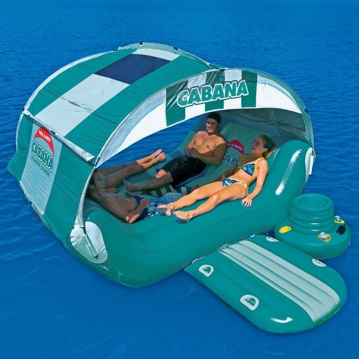 Inflatable Cabana Lounger With Attachable Cooler