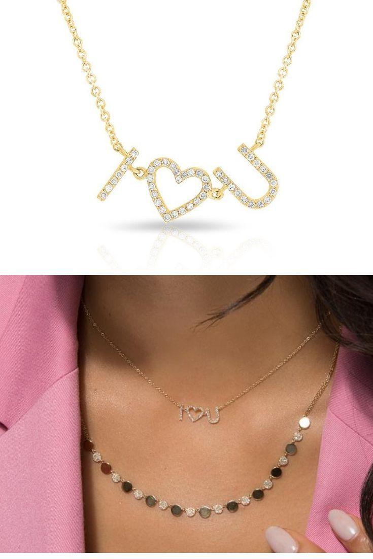 e154de9f78e 14KT Yellow Gold Diamond I Heart You Necklace