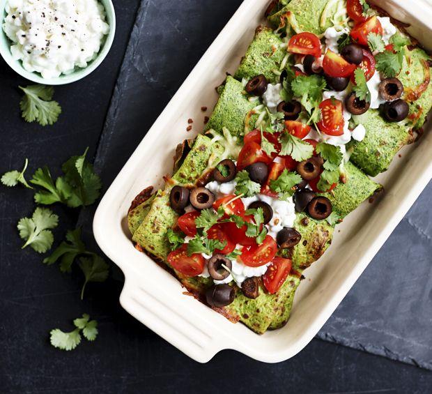Spinat-pandekager med krydret oksekød og hytteost
