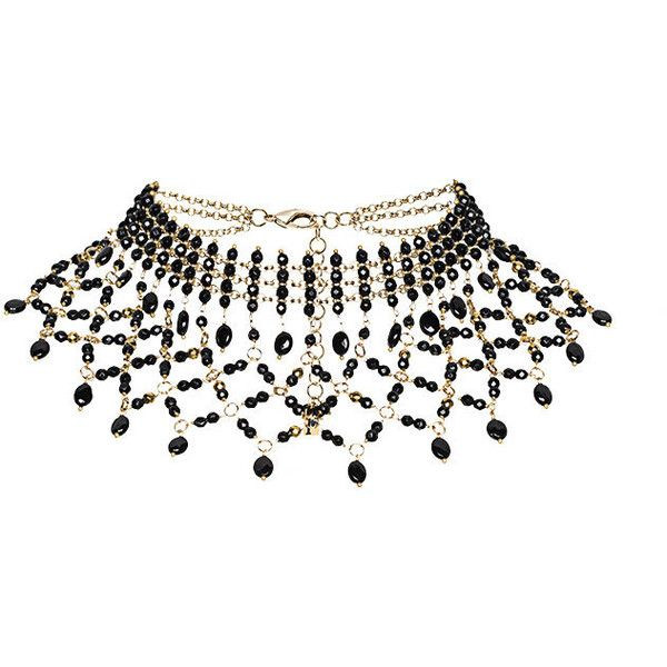 Rosantica Rete beaded choker necklace (€430) ❤ liked on Polyvore featuring jewelry, necklaces, black, choker necklaces, choker jewelry, beaded necklaces, beads jewellery and rosantica