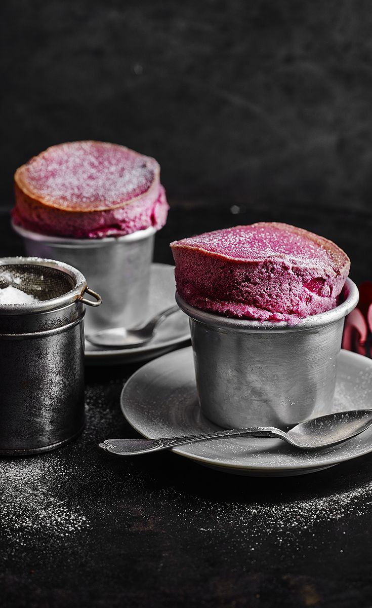 Indulgent blackberry soufflés - best served with a spoonful of Crème fraîche. Find the simple recipe on the Waitrose website.