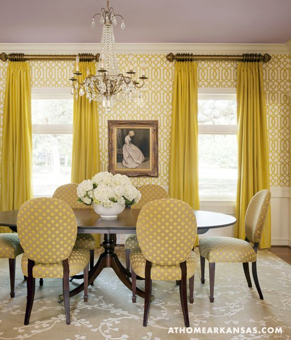 I LOVE This Color Combo Beige/yellow/crisp White And Lavender Ceiling.  Great Upholstery And Wallpaper. Southern Traditional   Traditional   Dining  Room ...