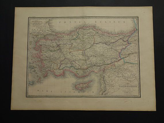 Asia Minor LARGE history map 1842 original old by VintageOldMaps