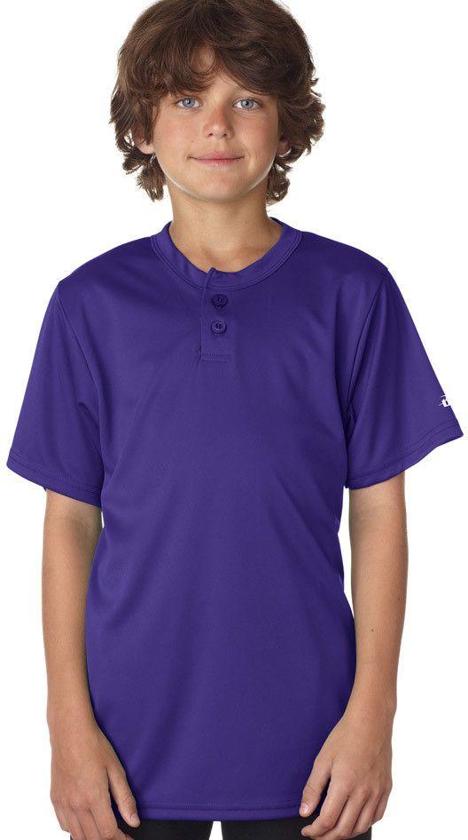 badger youth b-core henley tee - purple (s)