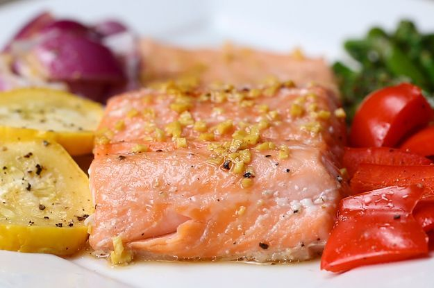 Eat The Rainbow With This One-Pan Salmon And Rainbow Veggies