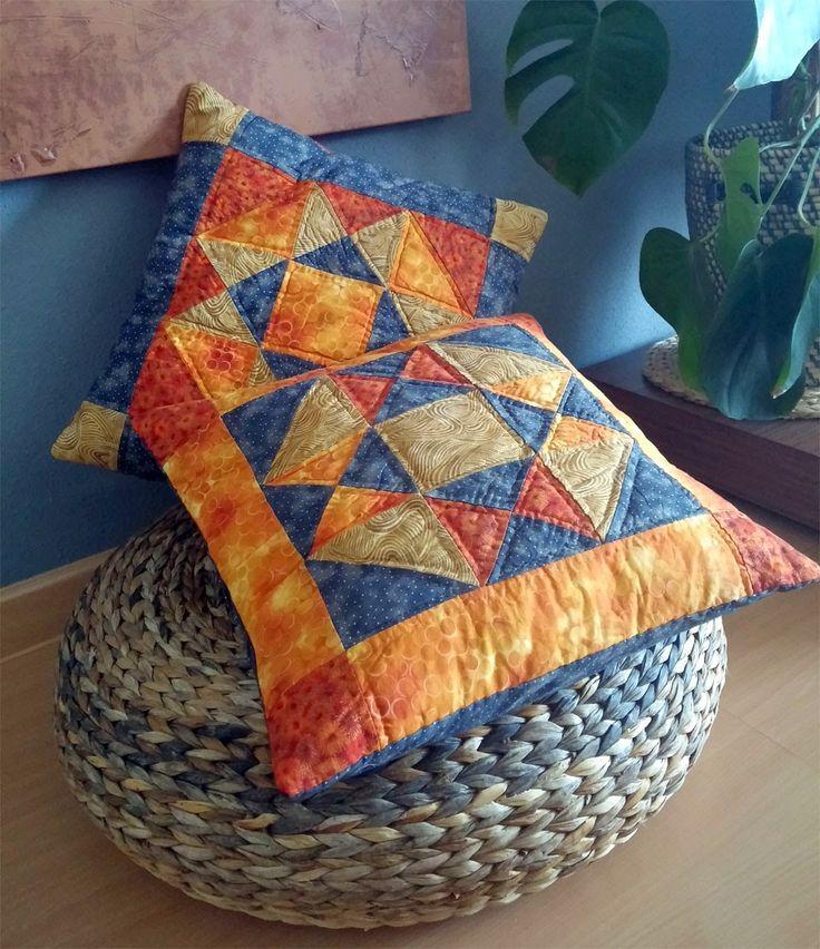 Patchmake blog de patchwork cojines con estrella mis - Cojines de patchwork ...