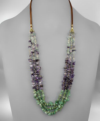 Amethyst and Jade Chip Necklace by TheHoneyBlossomShop on Etsy