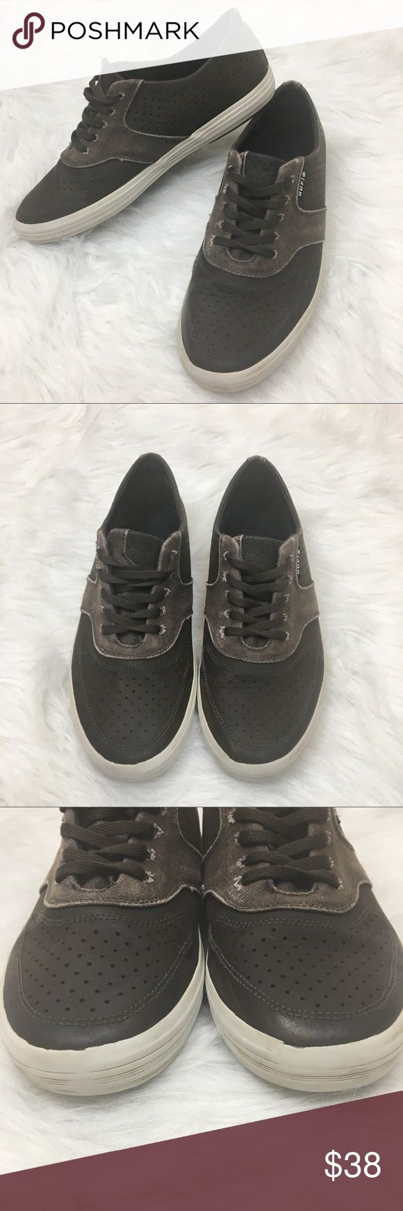 HUF | Classic Lo Skater Sneakers Leather Canvas HUF Classic Lo Skater Lace up Sneakers. Dark brown perforated leather throughout with lighter brown lightly distressed canvas detailing. In very good condition overall with some very minor signs of wear.   Size 8.5 men's HUF Shoes Sneakers