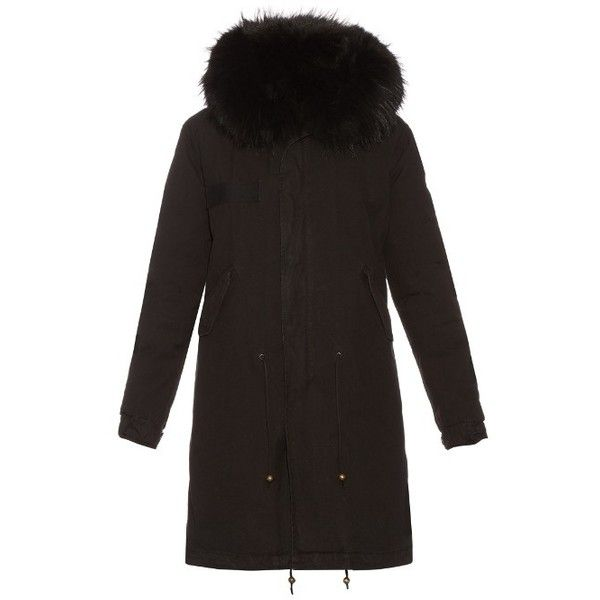 Mr & Mrs Italy Fur-lined canvas parka ($4,190) ❤ liked on Polyvore featuring outerwear, coats, black, canvas coat, hooded parka, fur lined coat, fur lined hooded coat and fur lining coat