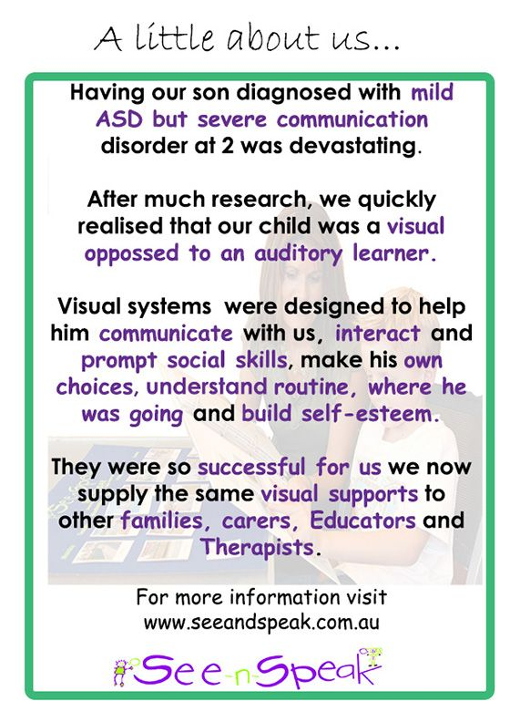 Here is some information about us and how and why See-n-Speak Autism Resources got started.  If your outside Australia and would like to order our visual aids please email us enquiries@seeandspeak.com.au