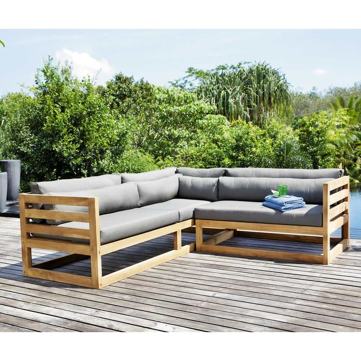 Teak outdoor corner sofa, charcoal grey  CYCLADES