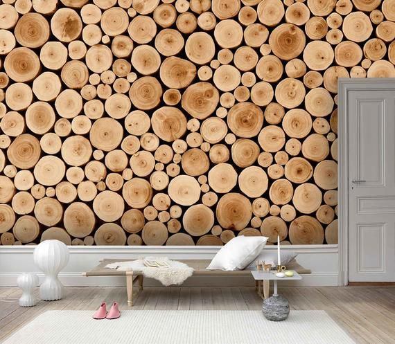 3d Round Primary Color Wooden Pattern Wallpaper Mural Peel And Stick Wallpaper Removable Wall Prints Stickers Feature Wall Wallpaer B336 In 2021 Wood Crosses Log Wall Wooden Pattern
