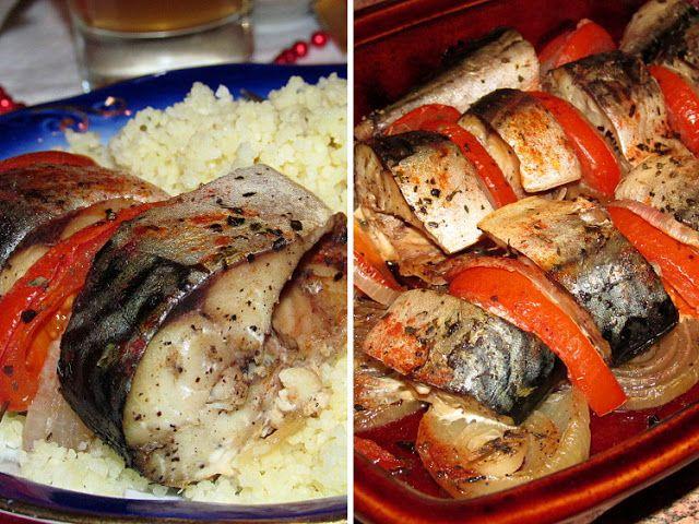 Постигая искусство кулинарии... : Скумбрия запеченная с помидорами и луком