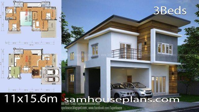 House Plans Idea 11x15 6m With 3 Bedrooms Casas Fachadas Parking