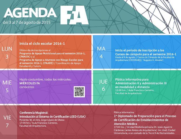 Semana #1 #ComunidadTAJR esta es la agenda de la @faunam_mx para inicio al semestre 2016-1 #SoyFA #OrgulloUNAM #UNAM