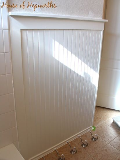 4 39 bead board panel topped with 1 4x4 flat board and 1x2 for 4x4 bathroom ideas