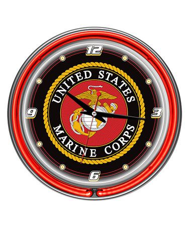 Take a look at this US Marine Corps Double-Ring Neon Clock by Trademark on #zulily today! #usmc