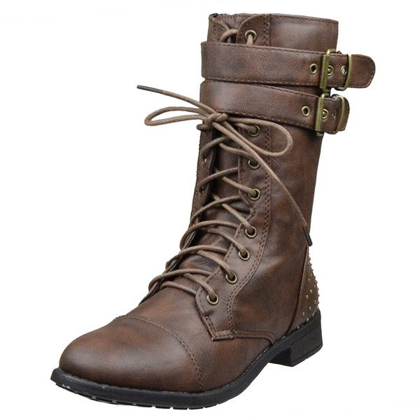 Womens Ankle Boots Buckle Accent Studs Lace Up Combat Boots Brown SZ... (€24) ❤ liked on Polyvore featuring shoes, boots, brown, studded ankle boots, vegan ankle boots, laced up ankle boots, military boots and laced up boots