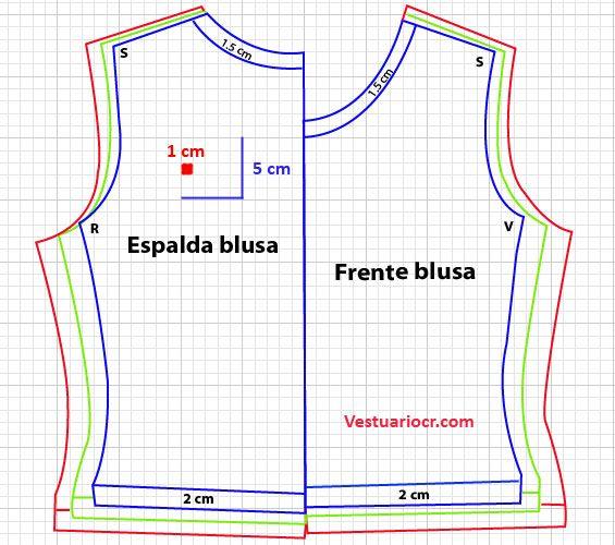 Patron blusa básica para mujer | Patrones y moldes gratis
